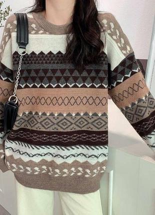 Шерстяной  теплый свитер с узором. бежевый. бордовый. персиковый. кофта. оверсайз