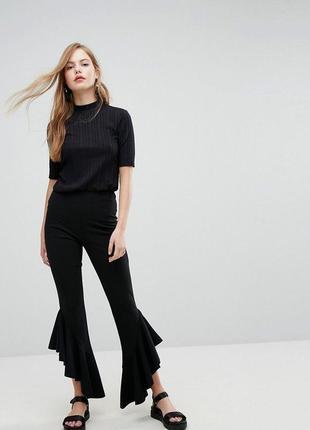 Стильные комфортные брюки интеремного фасона на резинке, высокая посадка