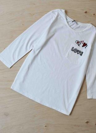 Белая   кофта блузка реглан   с вышивкой  tu
