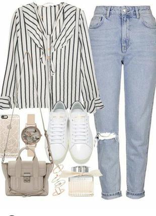 Классные винтажные джинсы бойфренды, мом, mom с прорезями, дырками на коленях