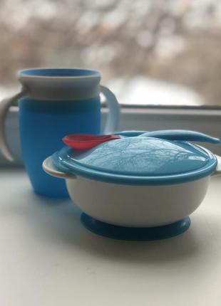 Чашка munchkin и тарелка на липучке