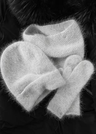 Набір шапочка+снуд+рукавички