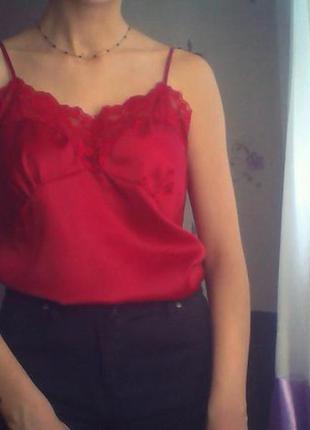 Шелковая блуза в бельевом стиле с кружевом