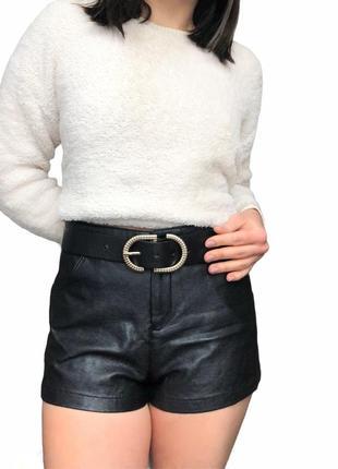 Кожаные шорты, высокая талия