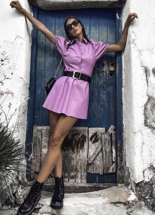 Кожаное платье лиловое платье от zara
