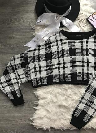 Трендовый укороченный свитер в клетку светр в идеальном состоянии 🖤i saw it first🖤4 фото