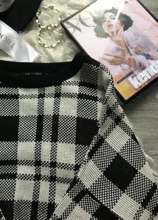 Трендовый укороченный свитер в клетку светр в идеальном состоянии 🖤i saw it first🖤6 фото