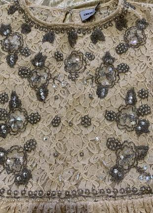 Гипюровое нарядное расшито бисером платье asos 36 размер