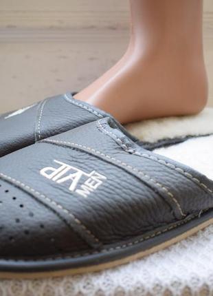Кожаные тапочки тапки польша р.46 31 см шерсть натуральная