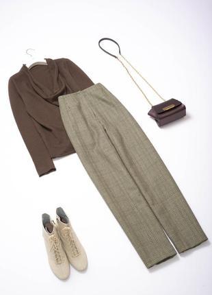 Стильные шерстяные теплые брюки с высокой посадкой 100% шерсть
