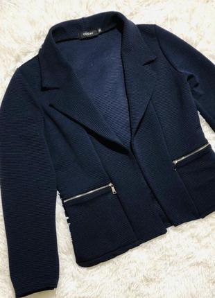 Темно-синий пиджак в рубчик жакет блайзер жіночий піджак италия