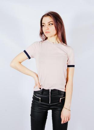 Бежевая базовая женская футболка, бежева базова жіноча футболка