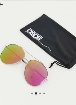 Стильные солнцезащитные очки в золотистой оправе, asos