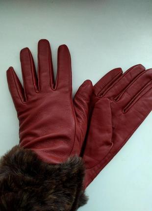 Бордовые кожаные перчатки river island