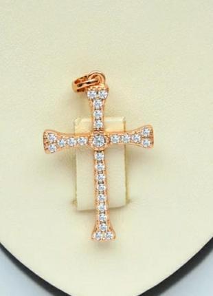 Крестик  с цирконами  / крестик позолоченный  / крестик