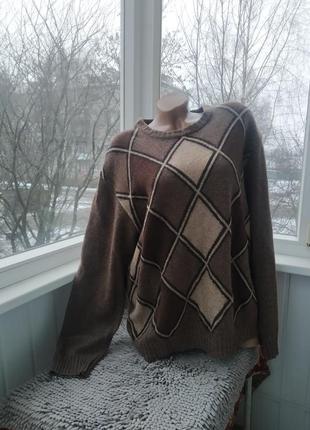 Шерстчной кашемировый свитер батал большой размер