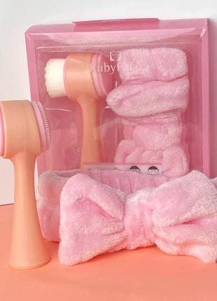 Набор - повязка и двухсторонняя щетка для лица ruby face, розовый к.027