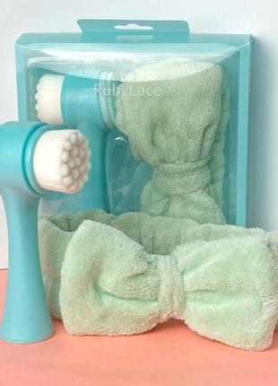 Набор - повязка и двухсторонняя щетка для лица ruby face, зелёный к.027