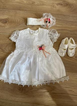 Набор для крещения , платье для крещение , нарядное платье , платье и пинетки