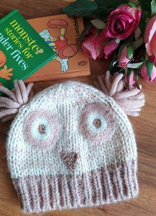 Шикарная вязонная шапка для малышки george на 1-3 года.