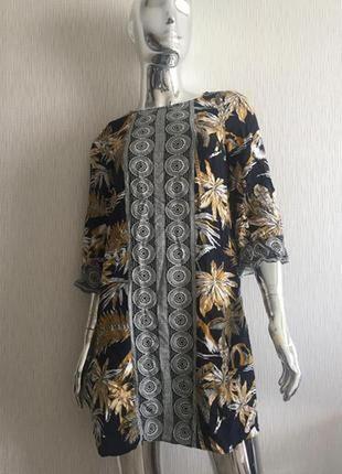 Платье рукав три четверти с орнаментом h&m