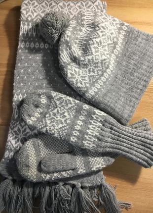 Шапочка шарфик и варежки остин