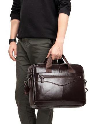 Мужской кожаный деловой портфель коричневый/сумка для документов и ноутбука,чоловічі сумки