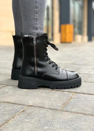 Balenciaga tractor ⭕ женские кожаные ботинки черные на меху 🔻 36-40 р