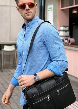Мужской кожаный портфель деловой черный/сумка для документов и ноутбука,чоловічі сумки