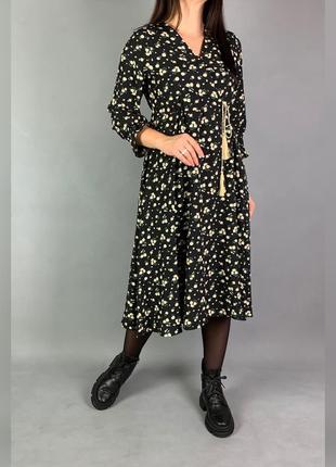 Платье  миди цветочный принт в стиле zara