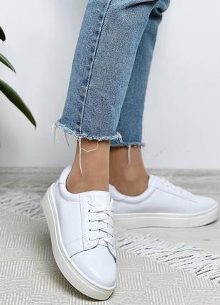 Шикарные женские белые кожаные кроссовки