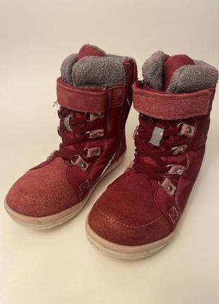 Зимние красные ботинки на молнии и липучке