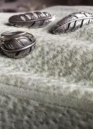 Набор покрытие серебро перья набір срібло серьги кольцо