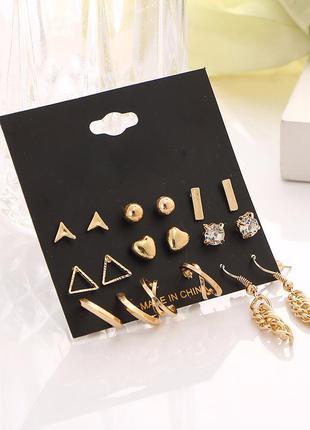Набор сережек 9 пар ( серьги кольца, сердечки, треугольники, гвоздики и другие )