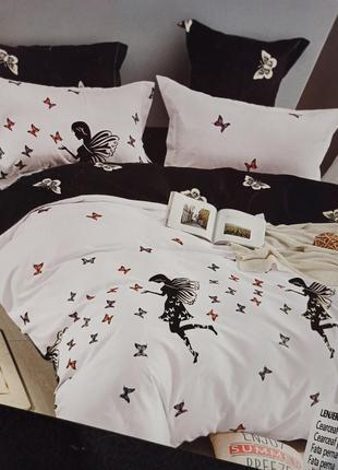Двусторонний комплект постельного белья фланель с 4 наволочками