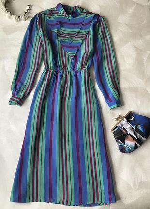 Винтажное платье миди ретро вискоза