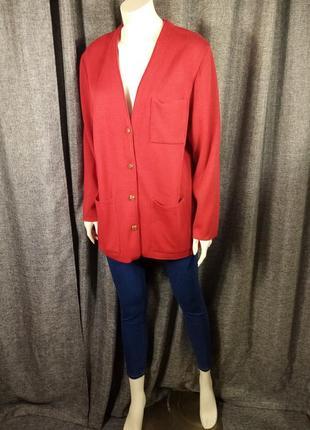 Французский красный трикотажный пиджак жакет кардиган