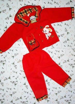 🎁1+1=3 яркий красный детский брючный костюм (кофта + штаны) на девочку 3 - 4 года