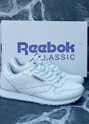 Женские кроссовки reebok classic белые, кожаные, весенние