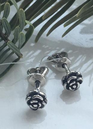 Серьги серебряные гвоздики пусеты роза