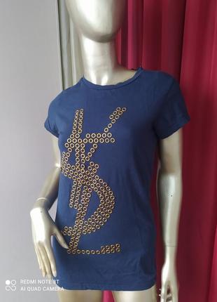 🛍🛍🧸🛍стрейчевая брендовоя футболка с железными кольцами  my brend