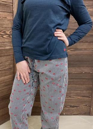 Теплая пижама с байковыми брюками, домашний костюм esmara германия
