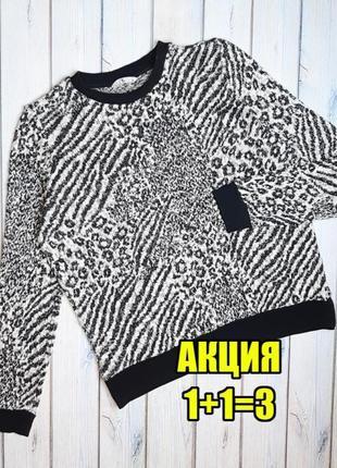 💥1+1=3 модный женский черно-белый свитер с люрексом tu в принт, размер 50 - 52
