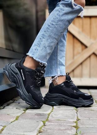 ❤ женские черные замшевые кроссовки b. triple s  ❤
