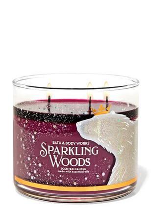 Свеча ароматизированная bath and body works sparkling woods 3-wick candle 411 г