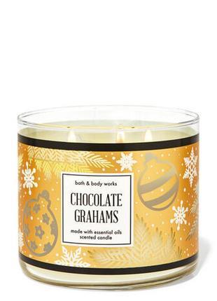 Свеча ароматизированная bath and body works chocolate grahams 3-wick candle 411 г