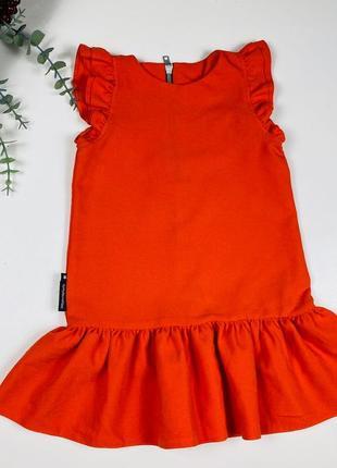 Красивое платье кирпичного цвета  с рюшами на рукавчиках  от baby k на 3-4 года
