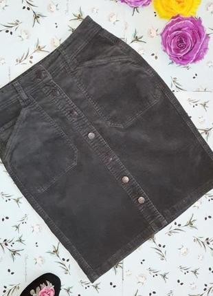 🎁1+1=3 серая юбка - карандаш papaya микровельвет на пуговицах до колен, размер 42 - 44