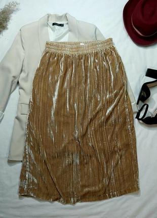 Велюровая юбка миди