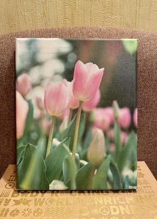 Картина на деревянном подрамнике, тюльпаны 💐